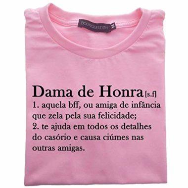 camiseta dama de honra rosa