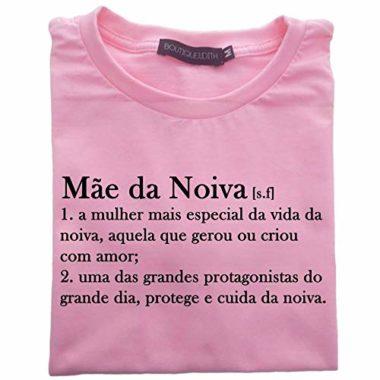 camiseta mae da noiva rosa
